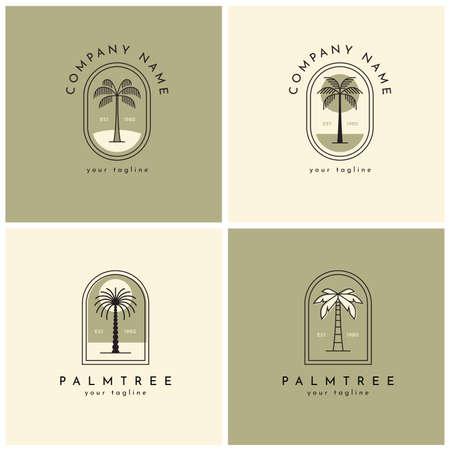 Four palm tree logo, emblem set one