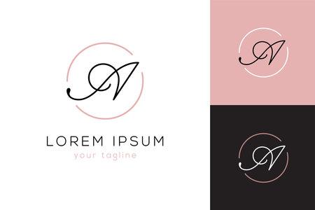 Elegant letter A line curve vector logo.