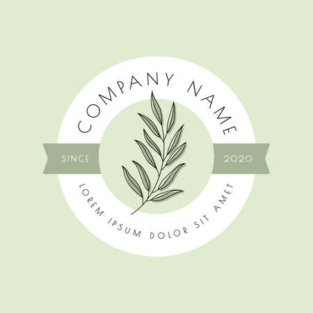 Natural, organic logo, emblem or label design with green leaf vector illustration. Illusztráció