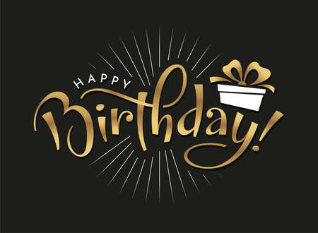 Happy Birthday typography in golden color on black background. Birthday party invitation, greeting card, banner design with hand drawn lettering. Vector handwritten calligraphy.