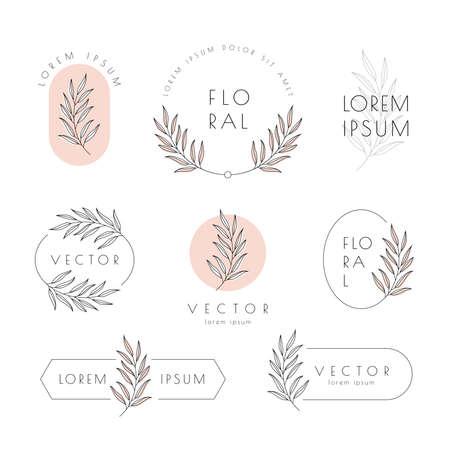 Minimal floral logo, elegant emblem and label set. Organic, natural, feminine branding design concept. Leaf vector illustration.