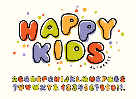 Drawn colorful alphabet for children. Happy kids funny cute font with letters and numbers. Vector illustration.