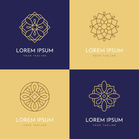 Vector abstract modern logo design templates in trendy linear style. Elegant geometric shapes set. Arabesque ornament elements.