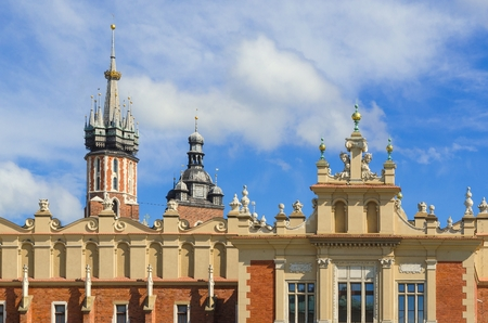 Old town and Cloth Hall (Sukiennice) in Cracow, Poland.