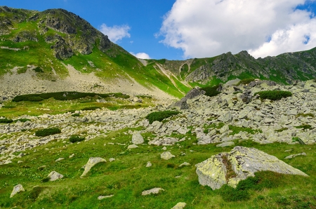 Mountain landscape. Picturesque view stretches over mountain ridge and high rocky summits in Tatras.