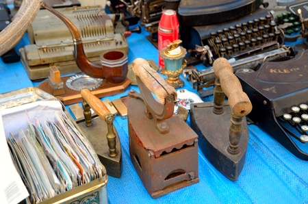 secondhand: JELENIA GORA, POLAND - SEPTEMBER 27, 2014: one of the largest flea market in Poland. Antiques fair held on last weekend of every year in Jelenia Gora, Poland.