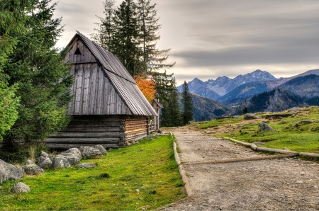 Wooden hut in Polish Tatra Mountains.