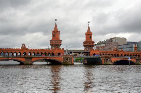 u bahn: Oberbaum bridge in Berlin, Germany.