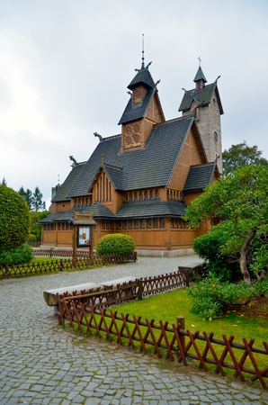 transferred: Temple Wang in Karpacz. Norwegian stave church which was transferred to Karpacz town in Karkonosze mountains, Poland. Editorial