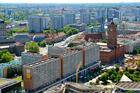 BERLIN, GERMANY - MAY 3, 2014: Aerial view of Berlin. Panorama of Berlin seen from the roof of the hotel Park Inn by Radisson in Alexanderplatz.