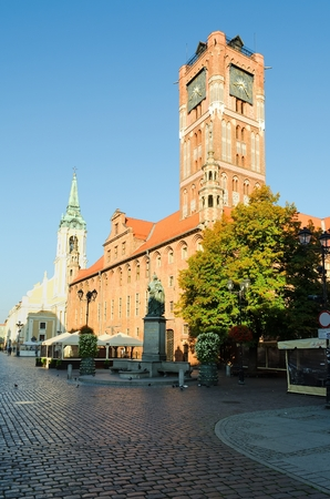 copernicus: TORUN, POLAND - SEPTEMBER 17, 2014: The Old Town Hall in Torun, Poland. Nicolaus Copernicus statue in front of the gothic Town Hall on the Old Town Square in Torun.