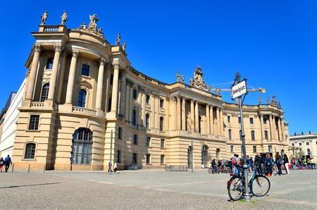Humboldt University in Berlin. Old University building (Alte Bibliothek) on Bebelplatz is one of Berlin 版權商用圖片