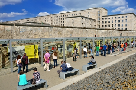 BERLIN, GERMANY - APRIL 30, 2014: Tourists in the \\\Topography of Terror\\\ an open-door museum, place during the Nazi regime was the headquarter of the Gestapo and the SS, on April 30, 2014 in Berlin. Editorial