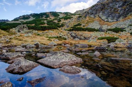 Mountains reflected in lake in Polish Tatra Mountains, Poland. photo