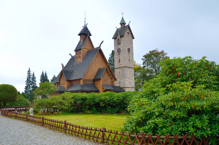 transferred: Temple Wang in Karpacz. Norwegian stave church which was transferred to Karpacz town in Karkonosze mountains, Poland. Stock Photo