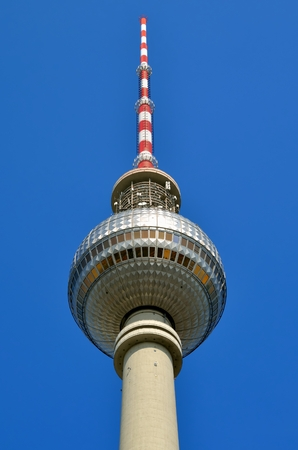 prominent: TV Tower in Berlin. The tower is prominent symbol and with its height of 368 meters it is the tallest structure in Berlin Germany.