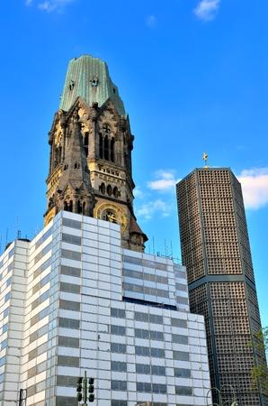bombing: Memorial Church in Berlin. Ruins of Kaiser Wilhelm Memorial Church in Berlin destroyed by Allied bombing and preserved as memorial Berlin Germany.