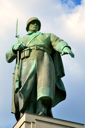 treptow: Monument Of Soviet Soldiers in Berlin Germany. The statue is a war memorial and military cemetery in Treptow Park in Berlin Tiergarten.