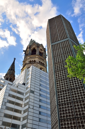 bombing: Memorial Church in Berlin. Ruins of Kaiser Wilhelm Memorial Church in Berlin destroyed by Allied bombing and preserved as memorial Berlin Germany.