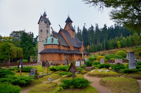 stave: Wang Temple in Karpacz. Norwegian stave church which was Transferred this Karpacz town in the Giant Mountains mountains Poland. View from the graveyard.