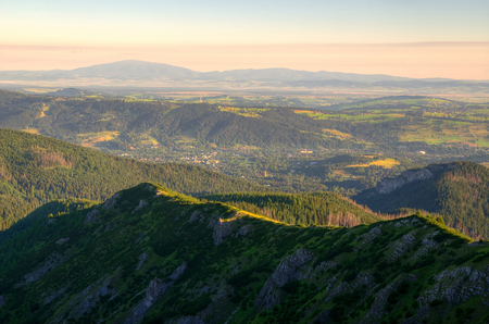upland: Mountain landscape. Picturesque view stretches over mountain ridge and upland scenery. Tatras and Beskids in Poland.