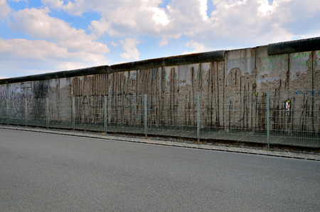iron curtain: BERLIN GERMANY APRIL 30 2014: The Berlin Wall Berliner Mauer in Germany. Berliner wall barrier constructed in 1961 That completely cut off West Berlin from East Berlin demolished in 1989.