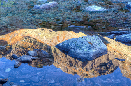 Mountain reflected in the lake. Reflection of a rocky summit in water the Slovakian Tatra Mountains.