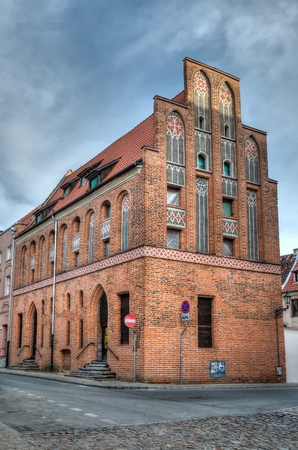 tenement: Gothic tenement house in Torun Poland. Old town house in old town Torun listed by the UNESCO organization.