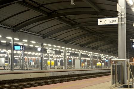 KATOWICE POLAND FEBRUARY 23 2015: Railway station. Platforms and tracks of the train station in Katowice Poland.