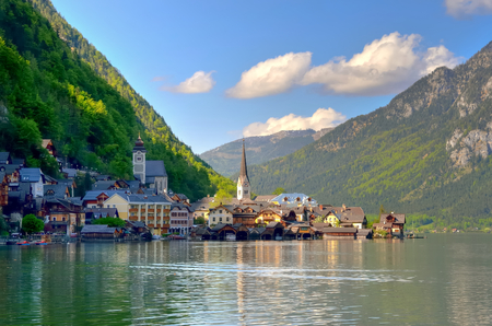 austrian village: Hallstatt in Austria. Famous Hallstatt mountain village and alpine lake Hallstatter See Austrian Alps. Stock Photo