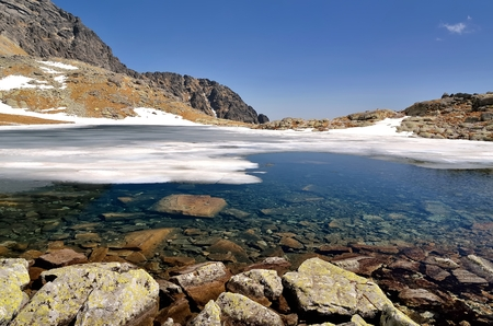 mountainscape: Mountain landscape. Picturesque view stretches over frozen lake in the Valley of Five Ponds Table of Tatra mountains in Slovakia. Stock Photo