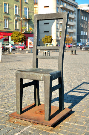 heroism: Ghetto Heroes Square in Krakow Poland. The chair is a monument of Ghetto Heroes and expresses the tragedy of the Jews in the Ghetto.