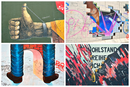 west germany: The Berlin Wall Berliner Mauer in Germany in collage style with flag of the Federal Republic of Germany at background. Photo collage presenting color Graffiti on the wall That completely cut off West Berlin from East Berlin.
