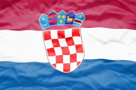 bandiera croazia: Croatia flag. Wavy flag of Croatia fills the frame. Archivio Fotografico