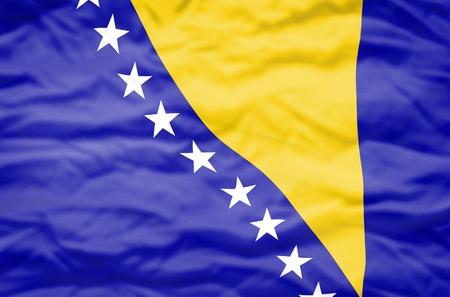bosnia and herzegovina flag: Bosnia and Herzegovina flags. Wavy flag of Bosnia and Herzegovina fills the frame.