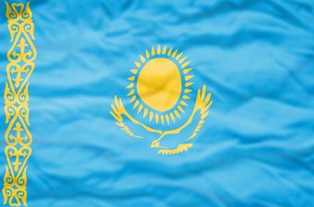 kazakhstan: Kazakhstan flag. Wavy flag of Kazakhstan fills the frame.