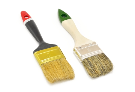 flat brushes: Two paintbrushes. Flat brushes for painting isolated on white background.
