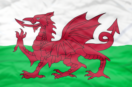 europe flag: Wales flag. Wavy flag of Wales fills the frame.