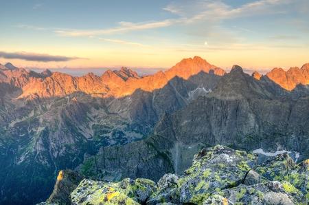 slovak: Mountain landscape. Polish and Slovak Tatra Mountains at sunset.