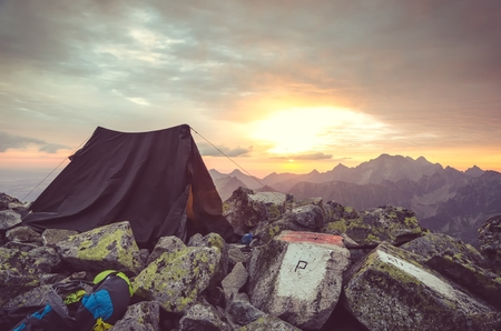 bivouac: Mountain landscape. Tent in the Polish and Slovak High Tatra Mountains. Stock Photo