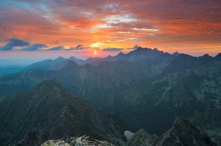 slovak: Mountain landscape. Polish and Slovak Tatra Mountains at sunrise.