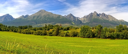 mountainscape: Panorama. Summer mountain landscape. Beautiful view on High Tatra Mountains, Slovakia. Stock Photo