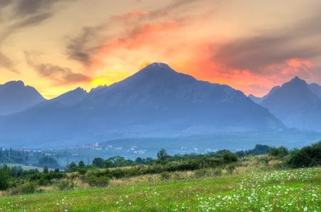 Summer sunset mountain landscape. Viev from Nova Lesna village on the High Tatra Mountains, Slovakia.