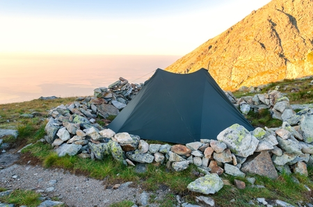 tatra: Tent in the mountains. Morning in High Tatra mountains, Slovakia. Stock Photo