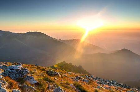 sunrise: Sunrise in mountains. View on the Belianske Tatras in High Tatra Mountains.