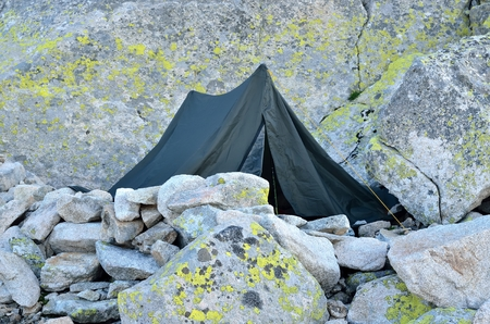 bivouac: Tent in mountains. High Tatra Mountains in Slovakia. Stock Photo