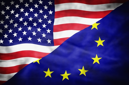 europe: United States of America and European Union mixed flag. Wavy flag of United States of America and European Union fills the frame.