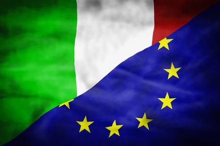 mixed wallpaper: Italy and European Union mixed flag. Wavy flag of Italy and European Union fills the frame. Stock Photo