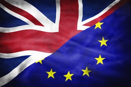 mixed wallpaper: Great Britain and European Union mixed flag. Wavy flag of United Kingdom and European Union fills the frame.