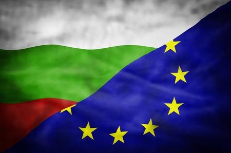 mixed wallpaper: Bulgaria and European Union mixed flag. Wavy flag of Bulgaria and European Union fills the frame.